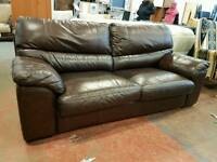 Large brown leather two seater sofa