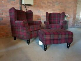 New next wingback checked armchairs - can deliver