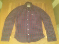 Hollister men's maroon and navy plaid shirt (large; slim fit) (never worn) JUST REDUCED