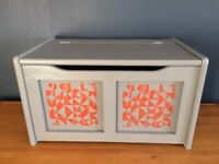 Grey Blanket/Toy Box, recently upcycled and screenprinted geometric pattern