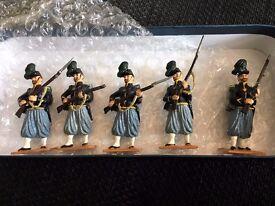 SET OF 5 METAL SOLDIERS - 83RD PENNSYLVANIA - DRESS UNIFORM
