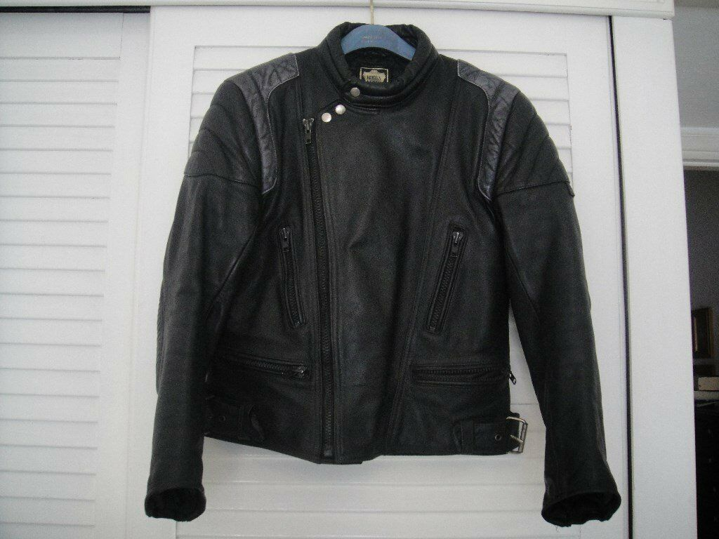 VINTAGE 80's 100% REAL GENUINE LEATHER BIKER JACKET - SIZE: LARGE