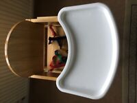 Mothercare High Chair, 3 way table and chair combination, and storage.