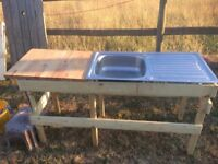 Outside sink and drainer for party, bbq area, camping etc
