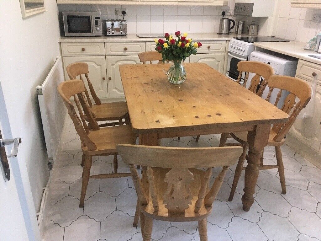 Pine Farmhouse Dining Table With Six Matching Chairs Excellent Condition In Kidsgrove Staffordshire Gumtree