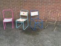 4 Vintage Tubular Metal and Canvas Stacking Chairs Frames Only Pel Cox Spares or Repair