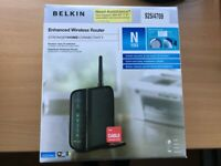 Belkin Enhanced Wireless Router N150 with 4 computer/wired device ports.