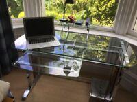 Glass and silver desk