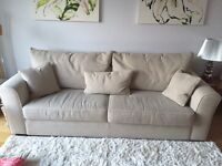 Colins and Hayes oatmeal 3 seater sofa less than 1 year old in excellent condition