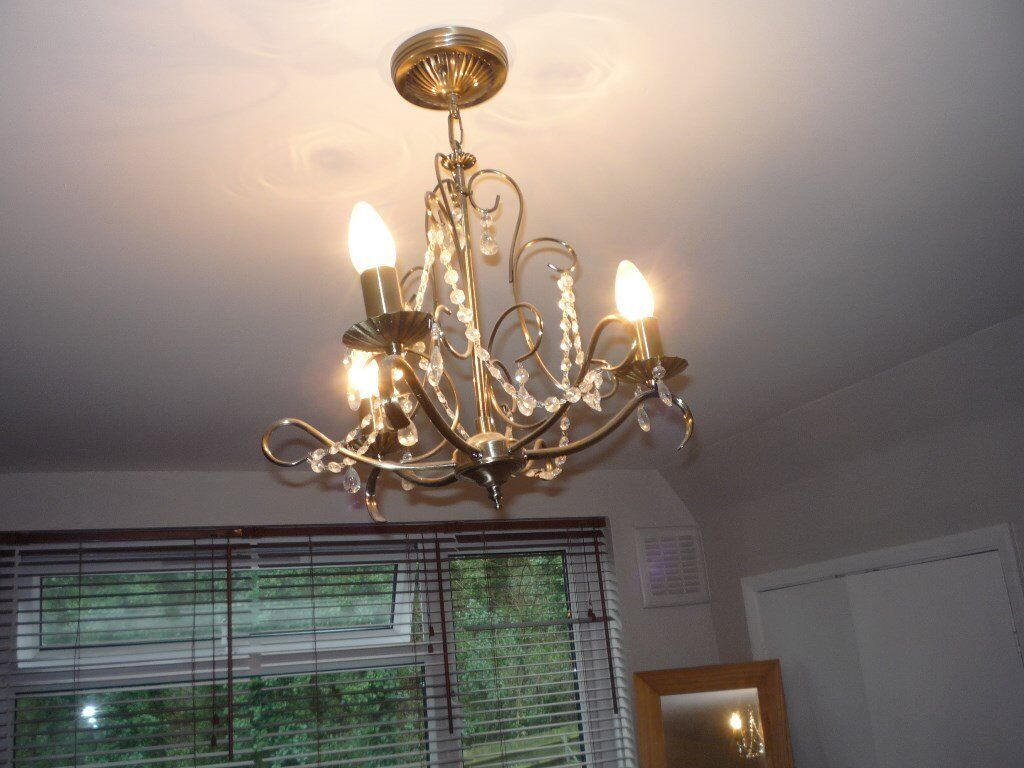 b and q ceiling light chandelier type bronze effect and crystal | in ...