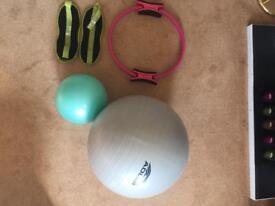Pilates balls, weighs, ring