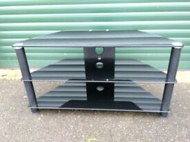 TV Stand with black metal frame and black glass shelves