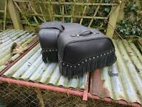 Motorcycle panniers Fringed leather