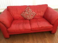 2 x Red Italian Leather 3 seater DFS sofa's