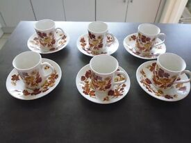 Vintage set of 6 'Elizabethan Meadow Flowers' design coffee cups and saucers