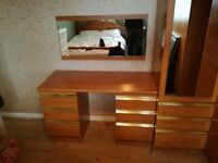 SCHREIBER TEAK WARDROBES, DRESSING TABLE AND 2 MIRRORS IN GREAT USED CONDITION