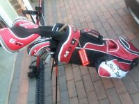 Left handed golf clubs .Full set with bag and trolley.Bad health forces sale of little used set.