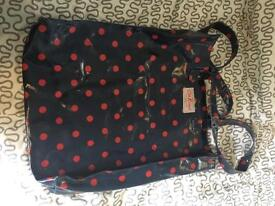 Cath Kidston navy with red spot book bag.