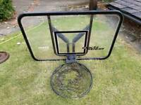 Basketball back board and spring loaded hoop