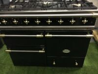 Stunning Lacanche Macon Range cooker 3 ovens Black and Brass Appliance