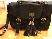 River Island Black Satchel Handbag with Tassels - Brand New