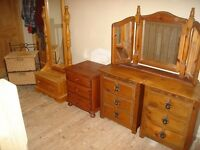 Pine furniture Bedside Drawers, Cheval Mirror and dressing table Mirror