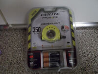 2-Brand new Unilite LED Head Torch Prosafe AA, Yellow, Plastic Case