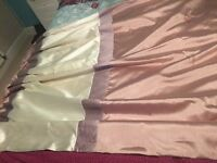 Pink and cream thermal lined pleat top curtains