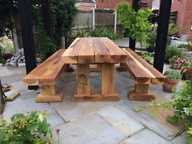 Large Rustic Solid Oak Handmade Garden Table and Benches