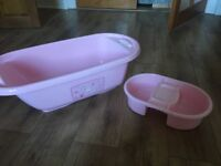 Pink baby bath with top and tail bowl and tommee tippee bottles