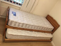 John Lewis Solid Pine Guest Lift-up Trundle Bed, 2 Luxury Mattresses, Free Delivery