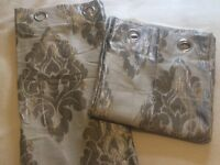 Silver Damask print curtains