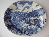 Antique oval plate. Blue and white china. W H Grindley. Quiet Day.