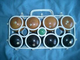 A wooden boule set