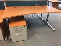 Height Adjustable Desk With Chrome legs And A Matching Pedestal