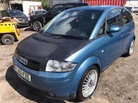 2002 Audi A2, starts and drives very well, 1 years MOT (runs out August 2018), carbon fiber bonnet,