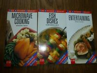 3 Kitchen Library cookbooks -Microwave cooking, fish dishes and entertaining good used condition