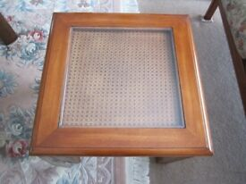 Two traditional solid mahogany square glass side tables in excellent condition