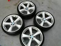 """19"""" alloys wheels 5x100pcd new tyres fit golf bora vw audi seat a3 leon etc"""