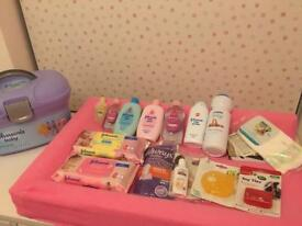 Johnsons baby box kit set bundle job lot brand new newborn unisex changing tether baby wipes