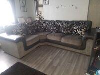 Grey / black corner sofa