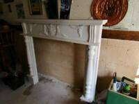 White shabby chic ornate fire surround fireplace