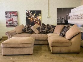 HARVEYS FABRIC CORNER SOFA AND FOOTSTOOL IN EXCELLENT CONDITION CAN DELIVER