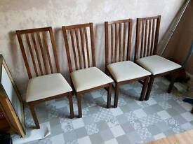 4 x oak.and white leather dining chairs