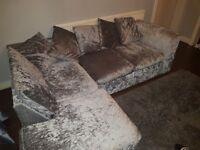 Crushed velvet left handed corner couch.