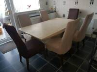 Real Marble Dining Table and 6 Chairs