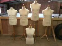 5 x Adjustable Shop Tailor Dummy Female Mannequin Dummies Male Dress Makers Fashion Student Bust