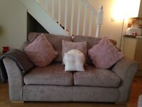 £400 ONO Immaculate condition Light mink 3 & 2 seater sofas with storage foot stole