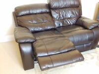 Leather two seater recliner and chair. Electric recliners in brown leather. Great condition.