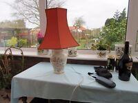 cream china table lamp pink flowers orange shade
